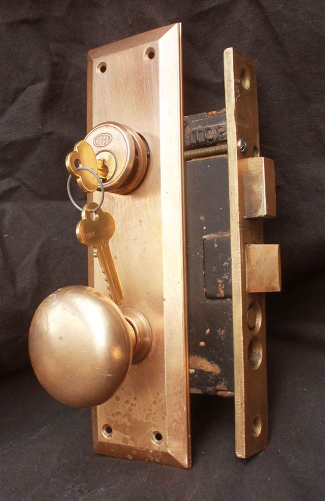 Antique Vintage Arts Crafts Brass Door Entry Exterior Lockset Plate Lock  Set Key #Corbin - Antique Vintage Arts Crafts Brass Door Entry Exterior Lockset Plate