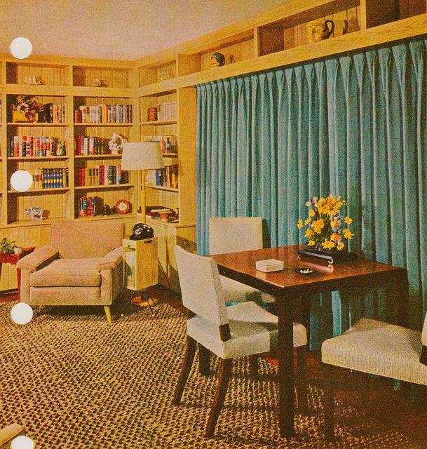 1959 Library in 2021 | Vintage interior design, Mid ...