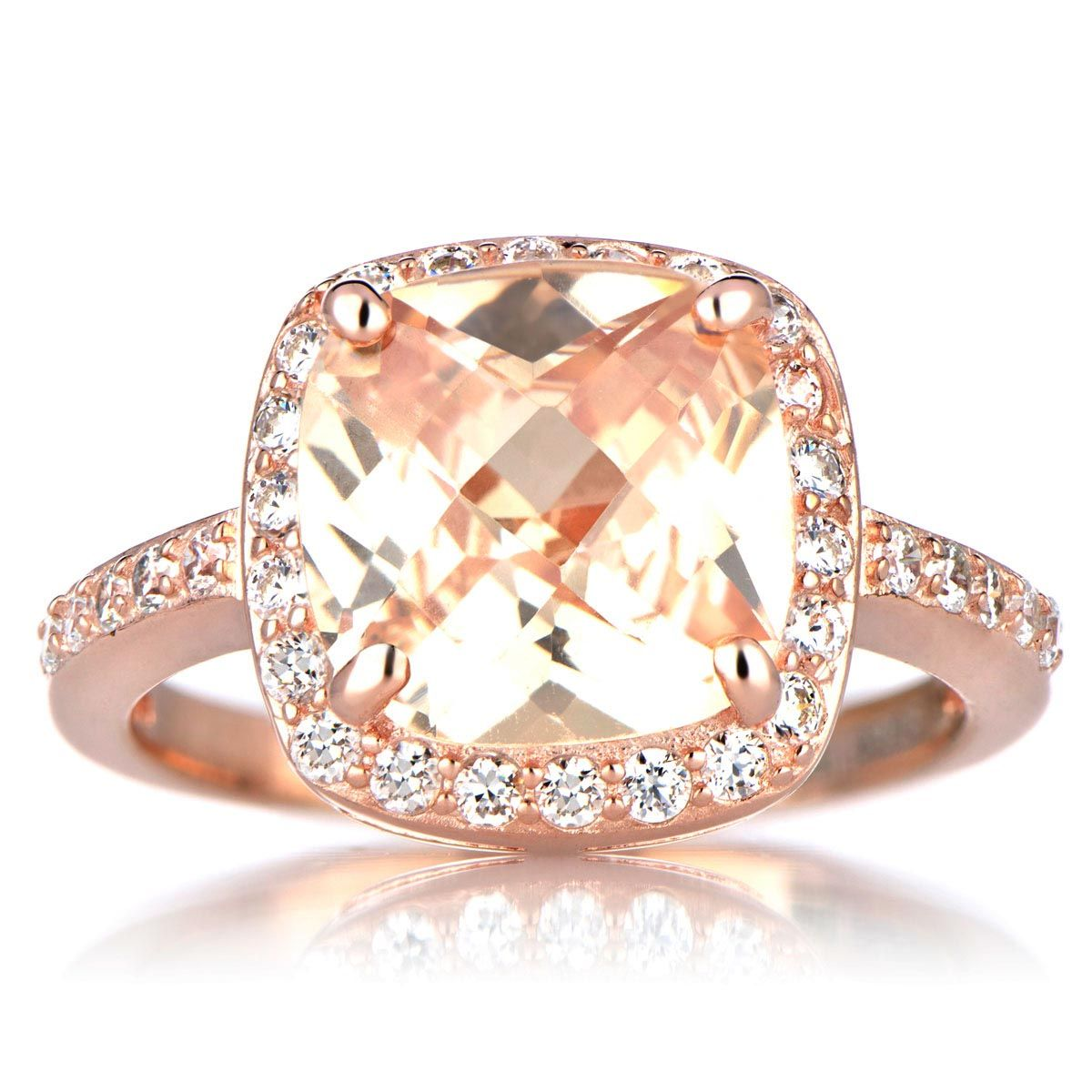 try marinas rose gold cushion cut engagement ring peach cz features a stunning peach cushion cut cz stone - Rose Gold Wedding Rings For Women