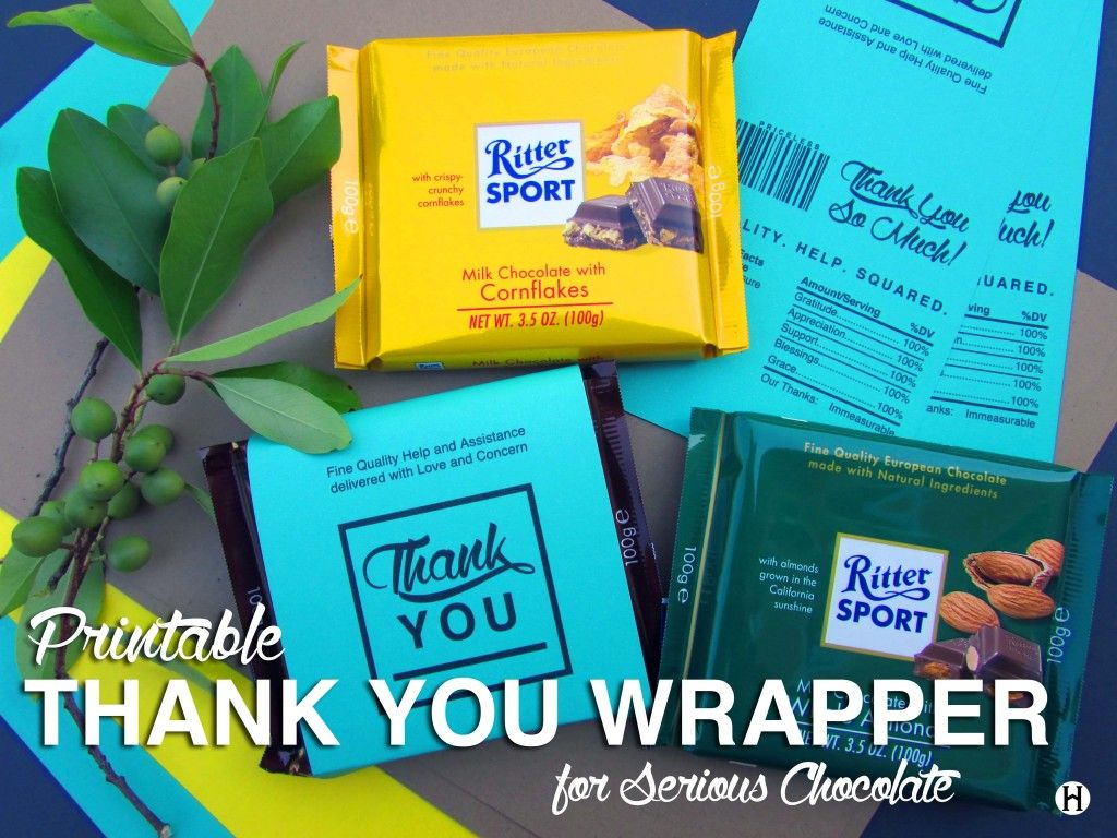 Thank You Wrapper for Rittersport chocolate Cornflakes