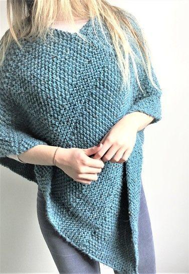 Poncho - PDF Knitting pattern - Adult size - LORNA ...