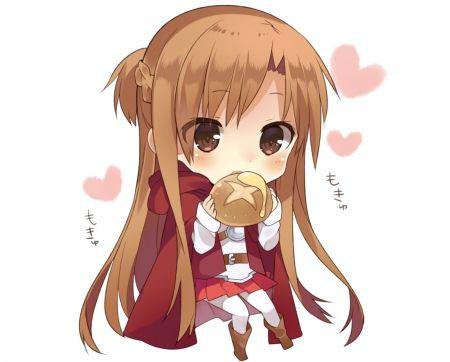 sword art online asuna season 1 eating bread chibi form ...