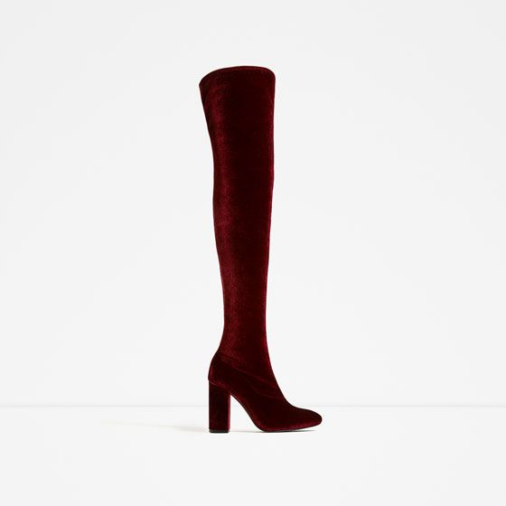 41866232885 Image 3 of VELVET OVER THE KNEE HIGH HEEL BOOTS from Zara