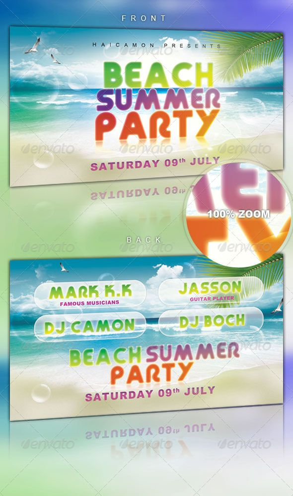 Beach Summer Party Flyer Club parties, Beach party and Party events