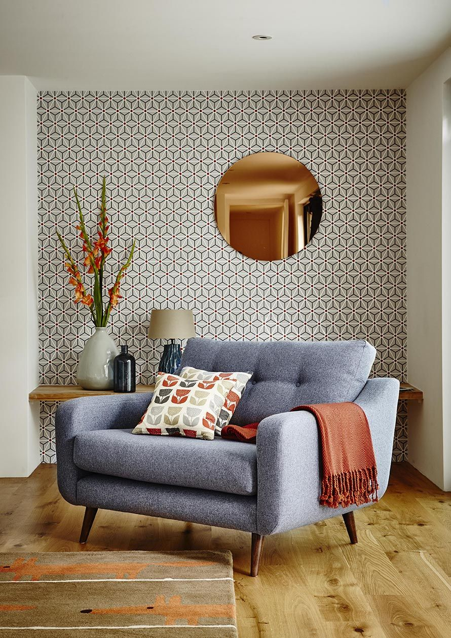 Round Copper Wall Mirror and Wallpaper Combination Modern Living Room 10 Mid Century Design Lessons To Remember  wall