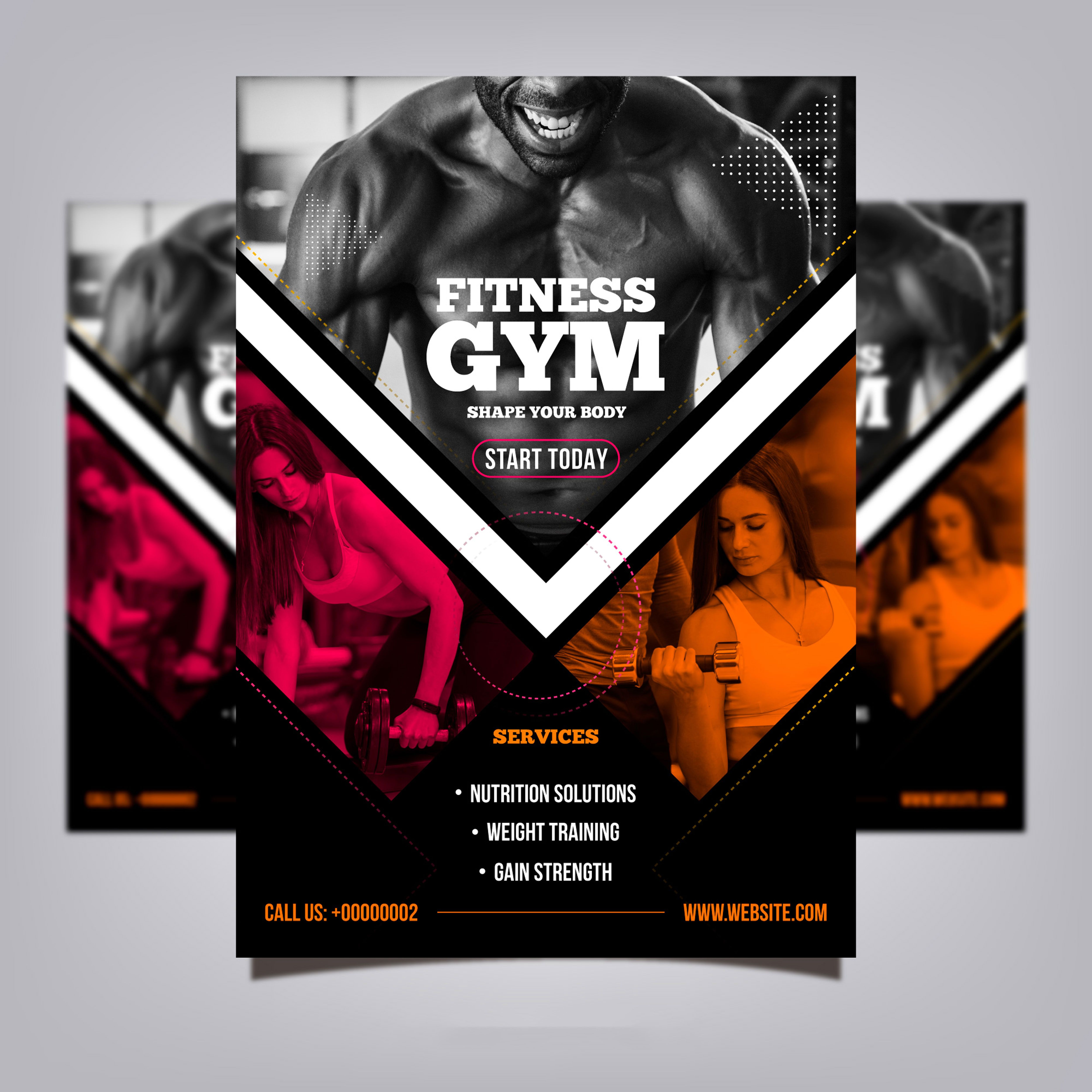 Gym Club Flyer Template With Photo Gym Poster Fitness Flyer Gym Club
