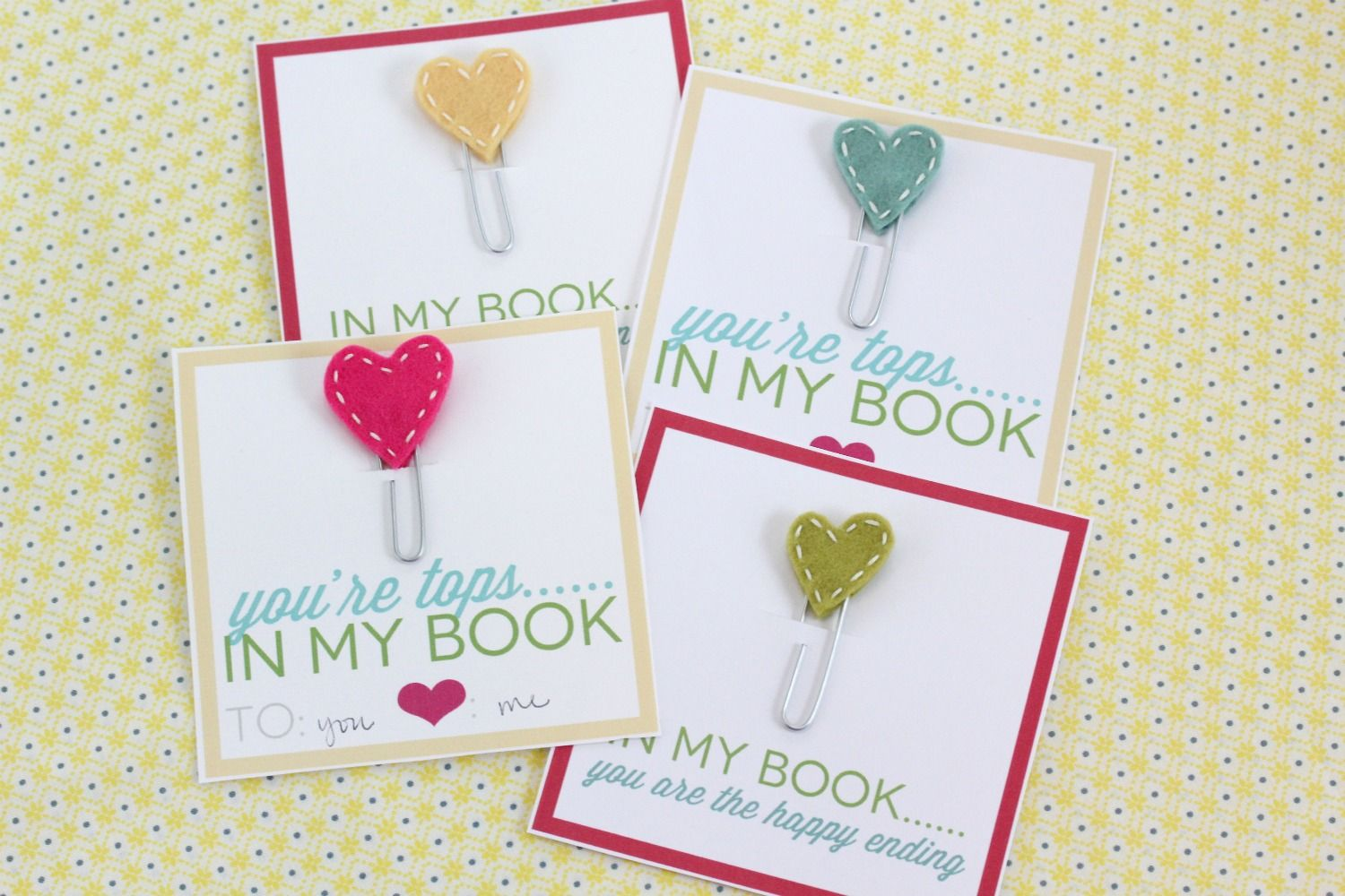 Stitched Heart Bookmarks: Felt hearts, white embroidery thread ...