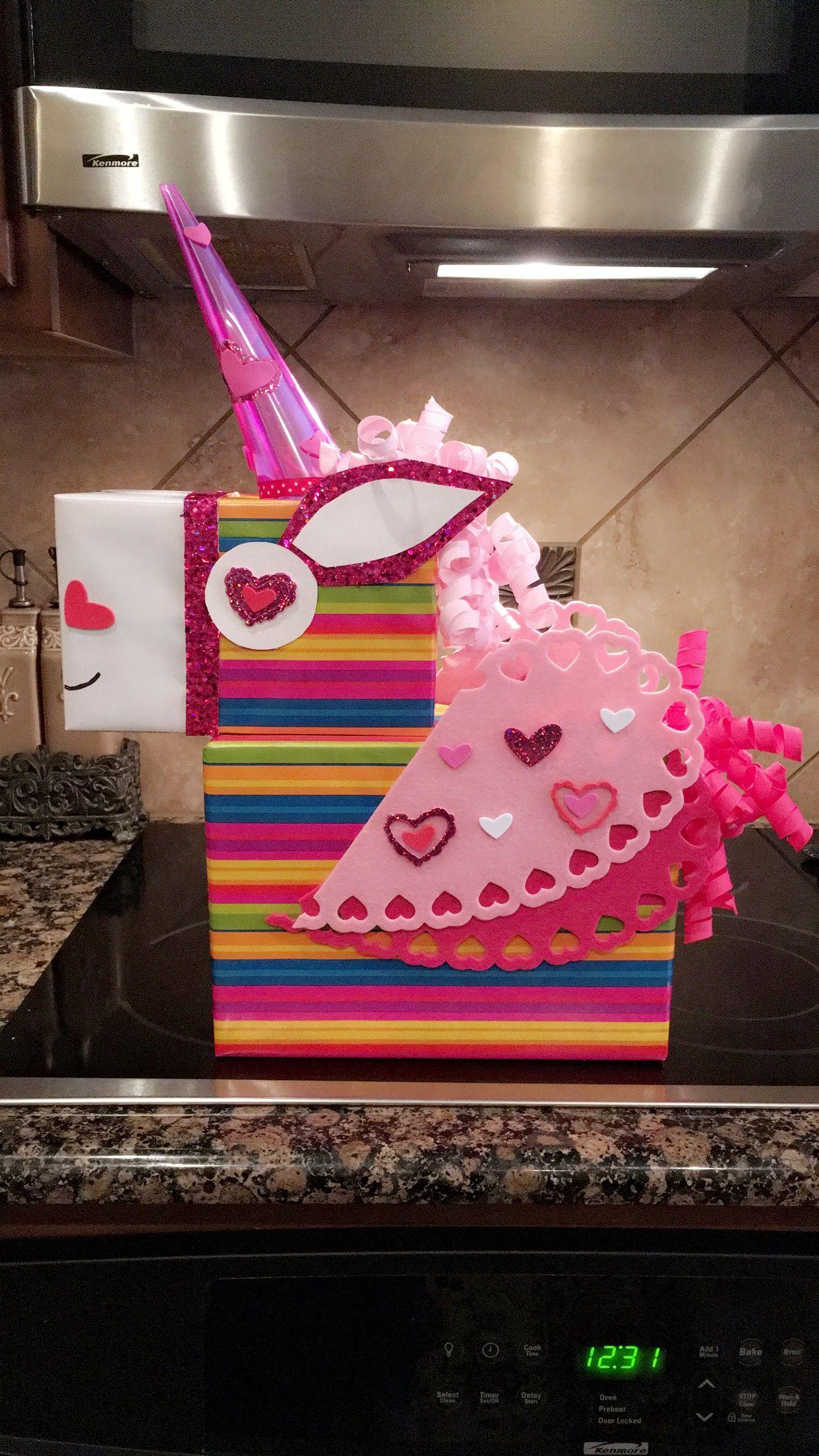 unicorn valentines card box diy unicorn  diy