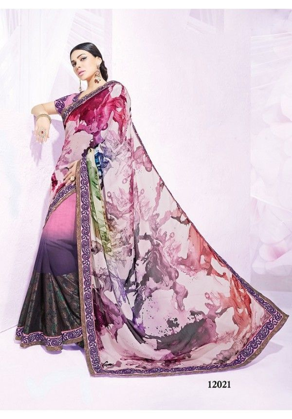 Designer Pink And Purple Georgette Saree
