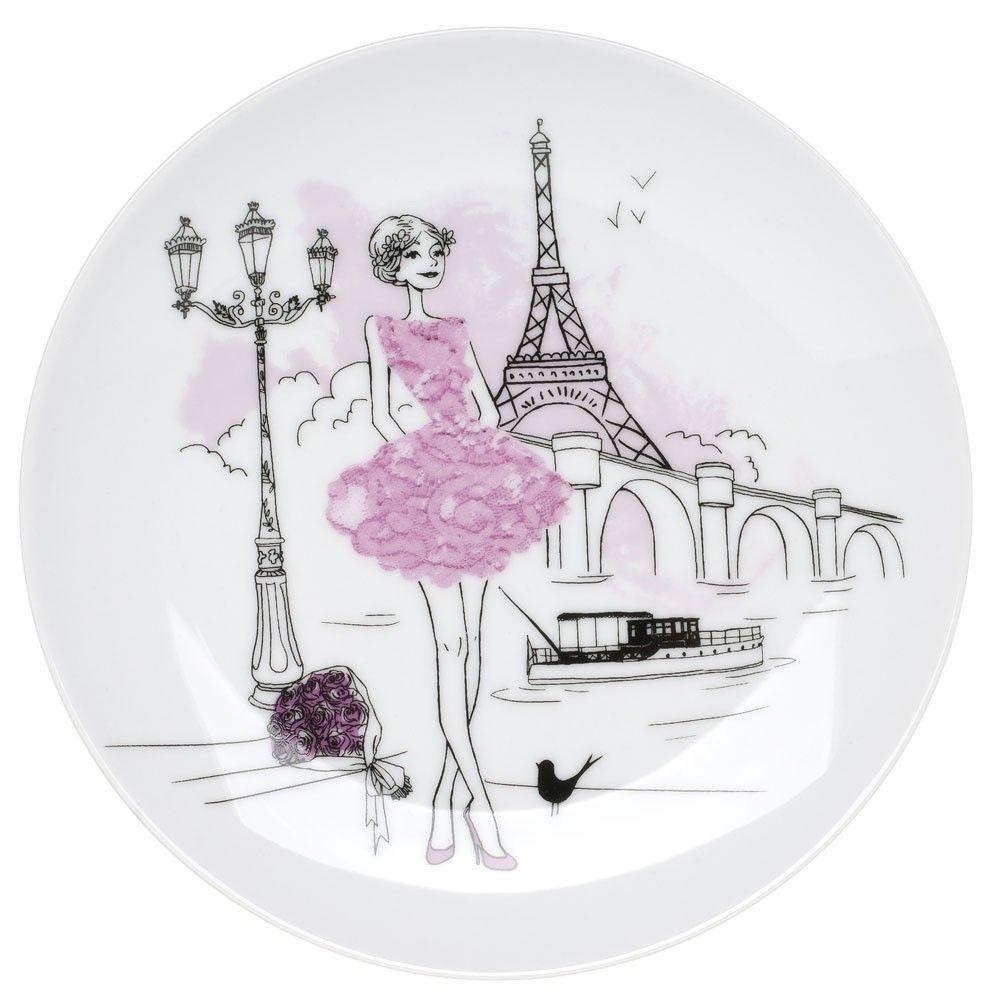 6 assiettes dessert en porcelaine 39 les parisiennes - Dessin parisienne ...