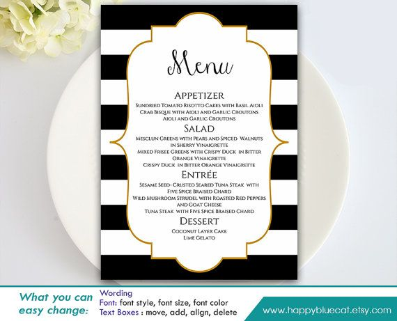 DiY Printable Wedding Menu Template   Instant Download   EDITABLE TEXT    Black U0026 White Stripes, Gold Frame 5  Free Word Menu Template