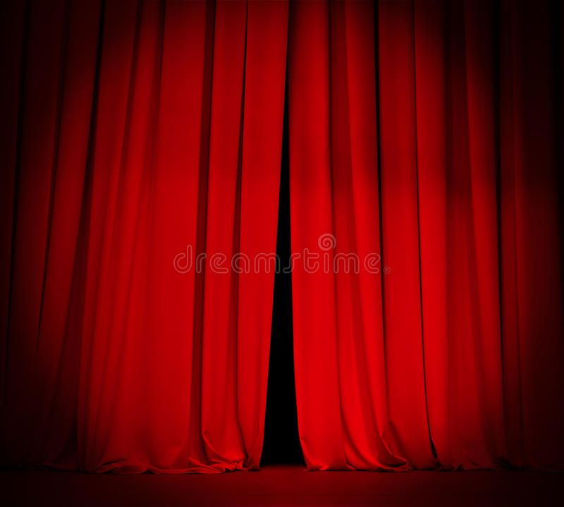 Theater Stage Red Curtain With Spotlight Background Theater Stage