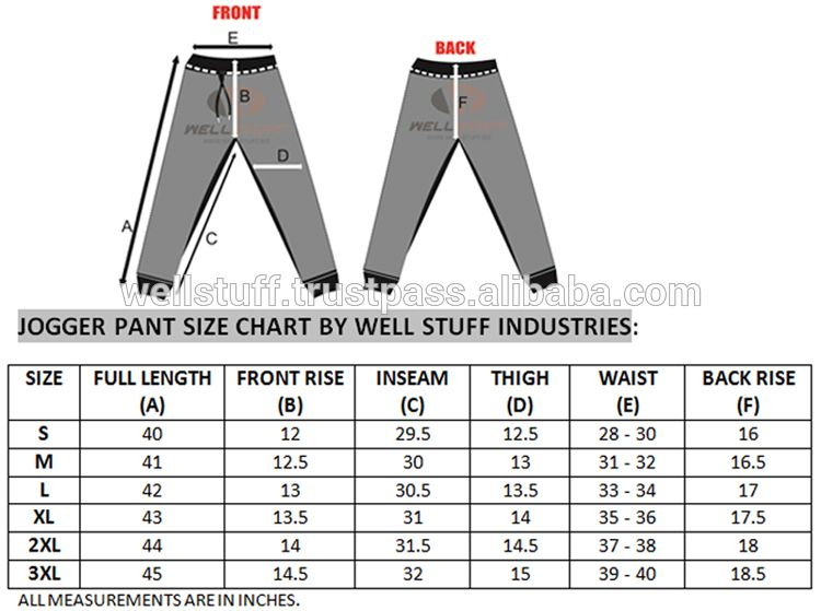 mens size specs charts for yoga knit pants Google Search