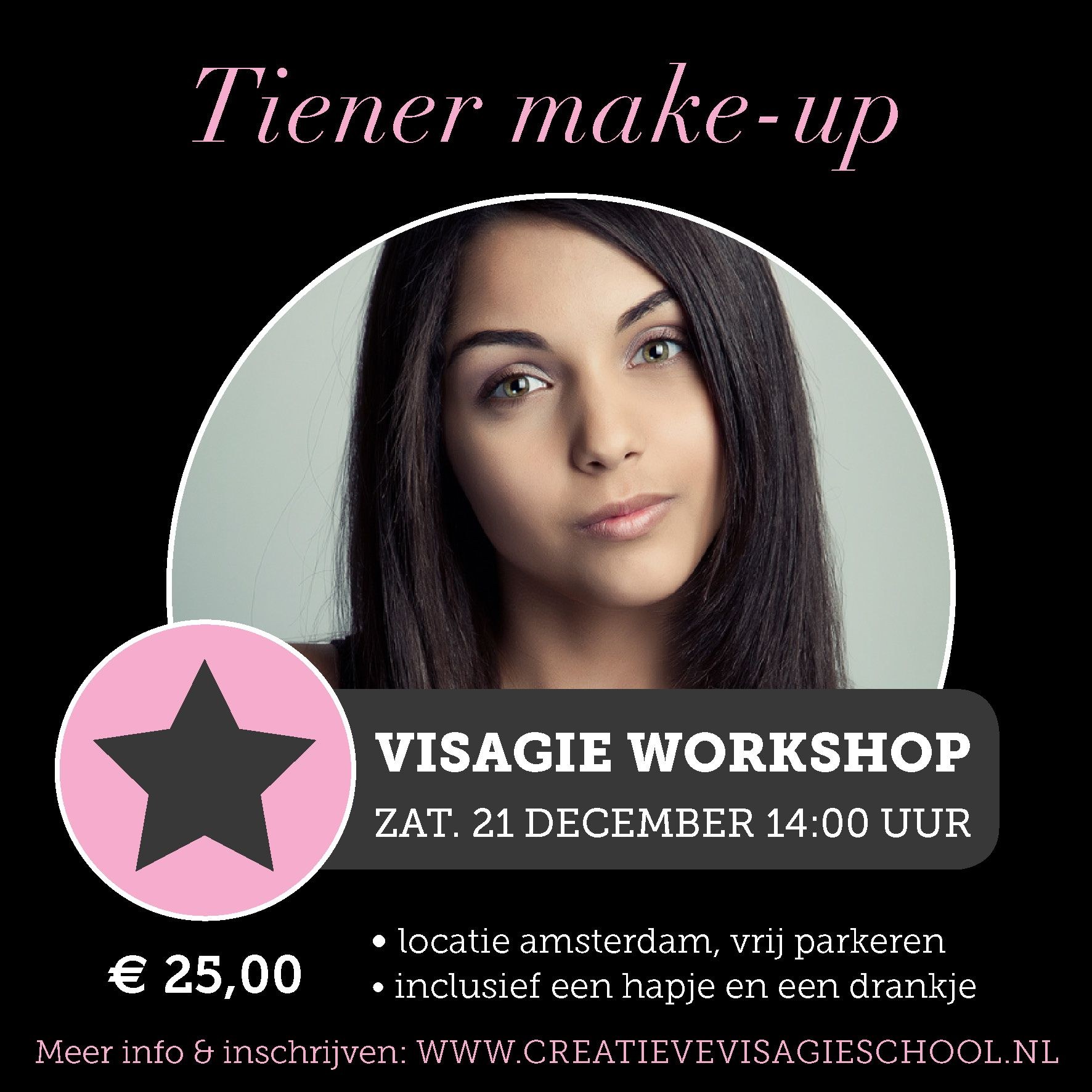 Visagieworkshop Amsterdam Thema: Tiener make-up www.creatievevisagieschool.nl