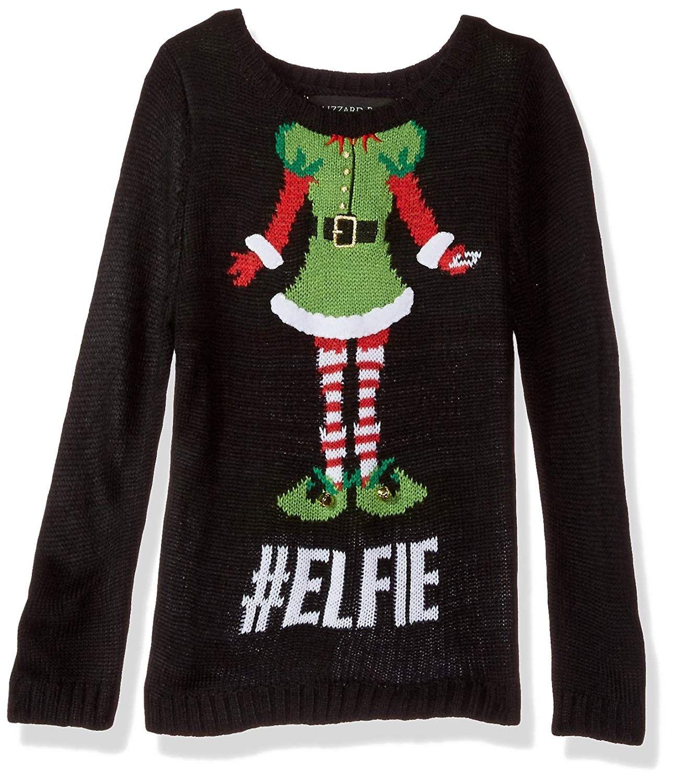 Girls' Little Elfie Christmas Sweater Black Combo
