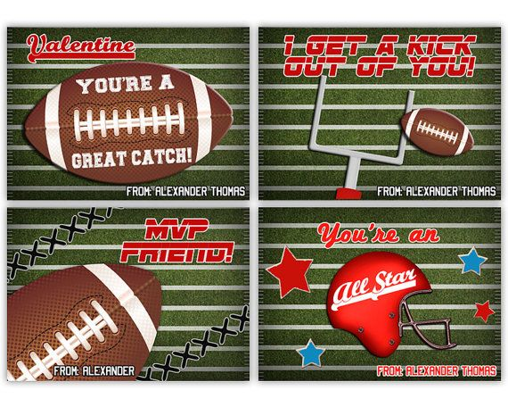 Football Valentines Day Cards Classroom Valentine AllStar – Sports Valentines Day Cards