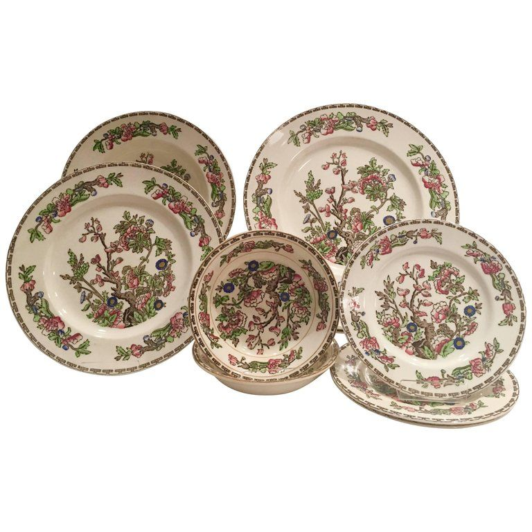 Alfred Meakin Tableware Antique Staffordshire English Dinnerware The India Tree 14 Indian Chinoiserie Ceramic China Sets Dinnerware
