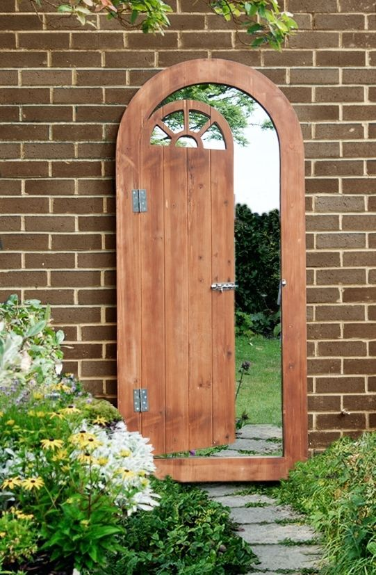 Perfect Wooden Illusion Garden Glass Mirror Gate Outdoor Large Perspective Door  Effect
