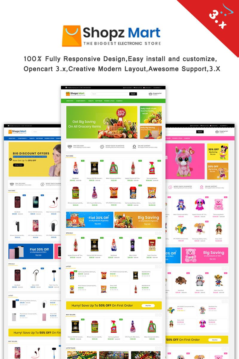 Shopz-Mart  3.x Responsive OpenCart Template Big Screenshot