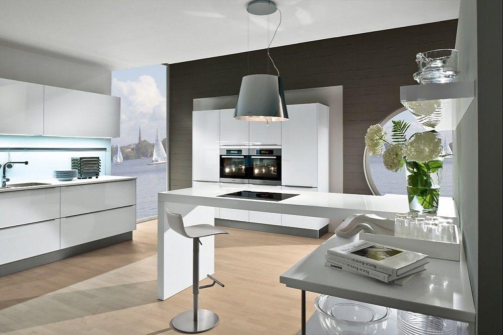 Polarweiße Küche mit Bartheke | Küche | Pinterest