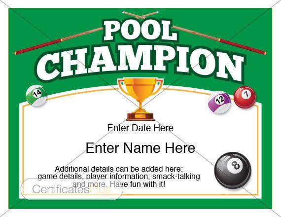 Pool Certificate Pool Champion Award Pool Award Template Pool