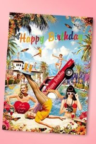 50s Retro Fun Happy Birthday Greeting Card