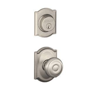 Schlage F57-GEO-CAM Georgian Entrance Exterior Trim Knob Set with Single Cylinder Deadbolt Trim and, Lifetime Polished Brass by Schlage Lock Company. $42.81. F-Series Schlage F57-GEO-CAM Georgian Entrance Exterior Trim Knob Set with Single Cylinder Deadbolt Trim and Decorative Camelot Rose The Schlage F57-GEO-CAM Exterior Entrance Lock Trim consists of the outside passage knob and outside deadbolt trim only. You must order a F59-xxx interior pack to complete your entra...