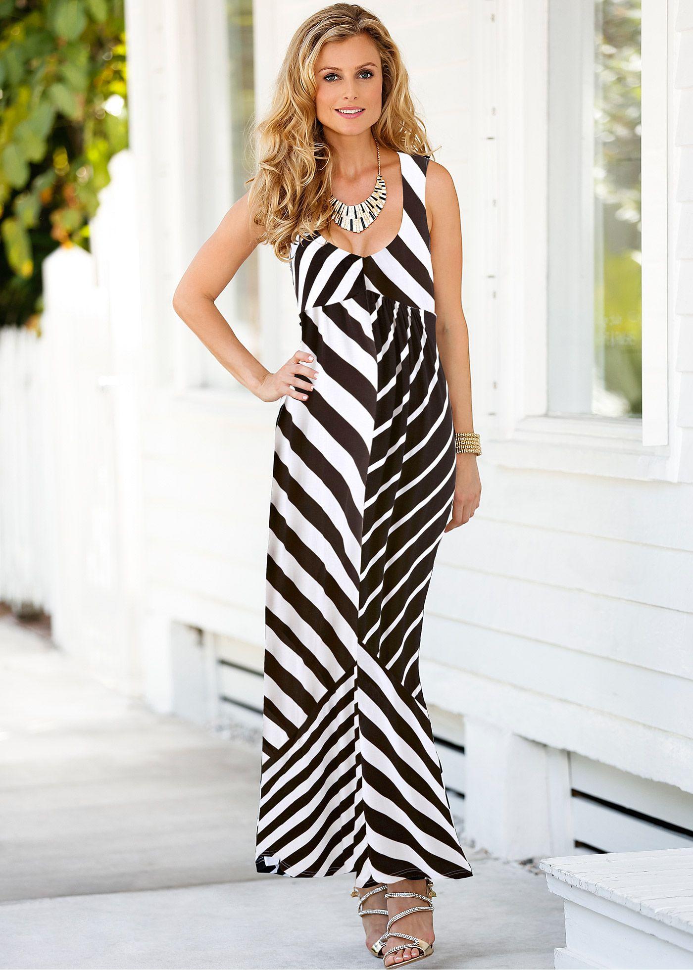 bbf41dfdb Vestido de malha longo preto/branco encomendar agora na loja on-line bonprix.de  R$ 129,00 a partir de Modelagem marcada, com diferentes padronagens .