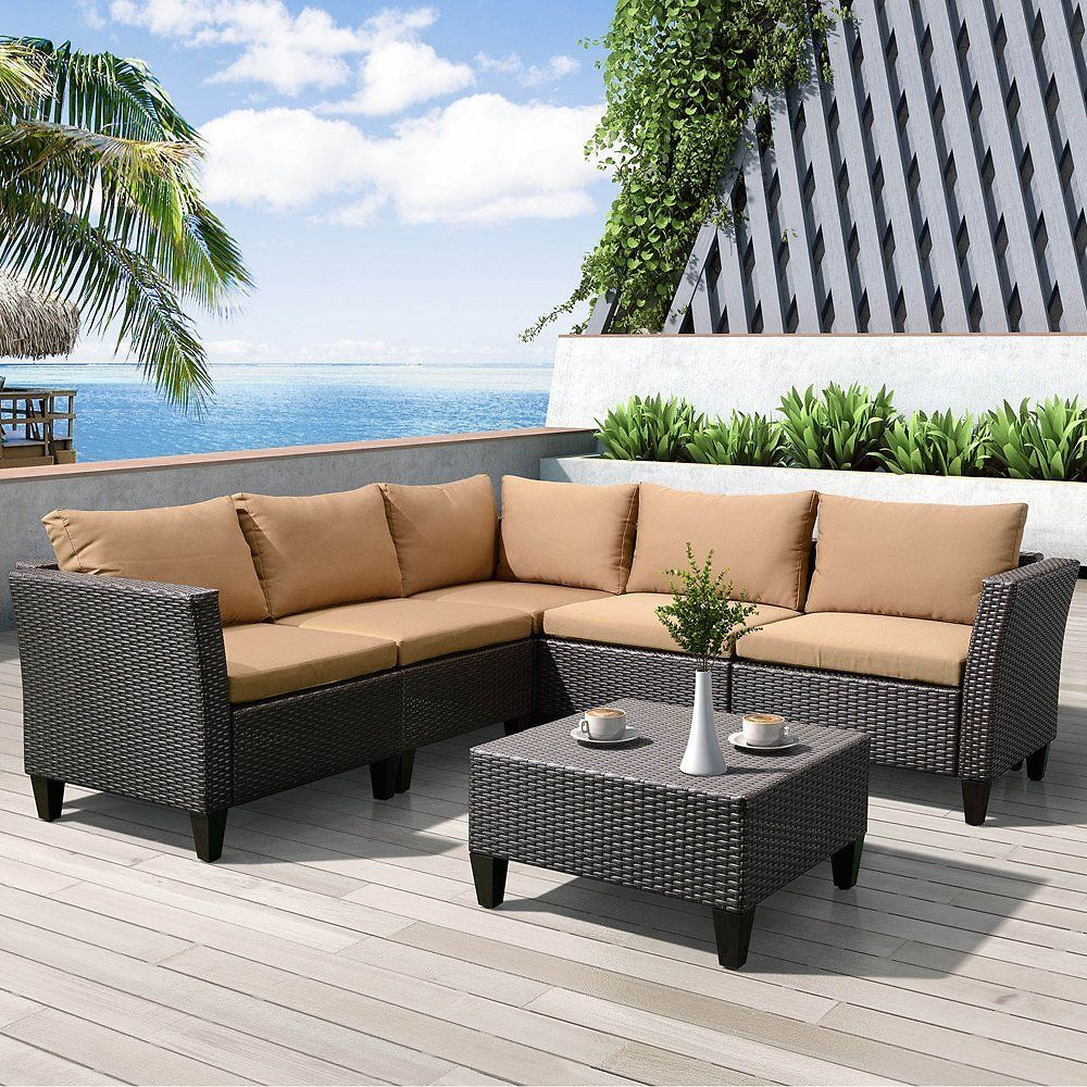 6 Piece Outdoor Garden Patio Furniture Conversation Sets Clearance  All  Weather Resin Wicker Rattan. 6 Piece Outdoor Garden Patio Furniture Conversation Sets Clearance