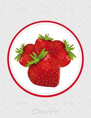 Aufkleber - Erdbeeren, rund, A-FP-0003 | Gastronomie | Aufkleber | Werbedesigns | Despri