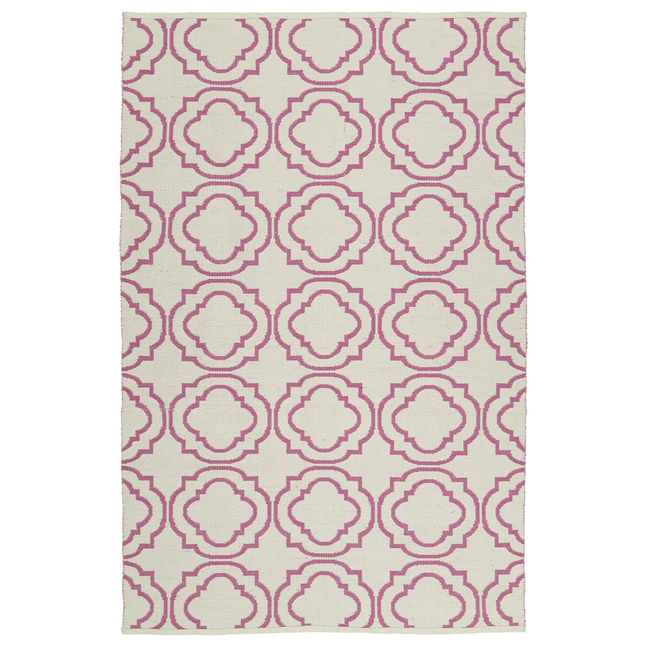 Kaleen Rugs Indoor/Outdoor Laguna Ivory and Pink Geo Flat-Weave Rug (9'0 x 12'0) (9'0 x 12'0), Size 9' x 12' (Polyester, Geometric)