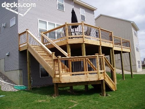 Stairs coming off the back of the deck multi level deck Walkout basement deck designs