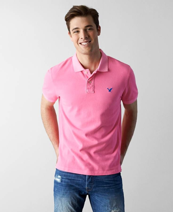 86524508 American Eagle Solid Polo, Men's, Highlighter Pink   *Clothing ...