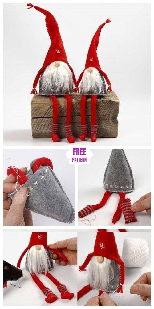 DIY Christms Felt Gnome Sew Free Pattern & Tutorial #toydoll