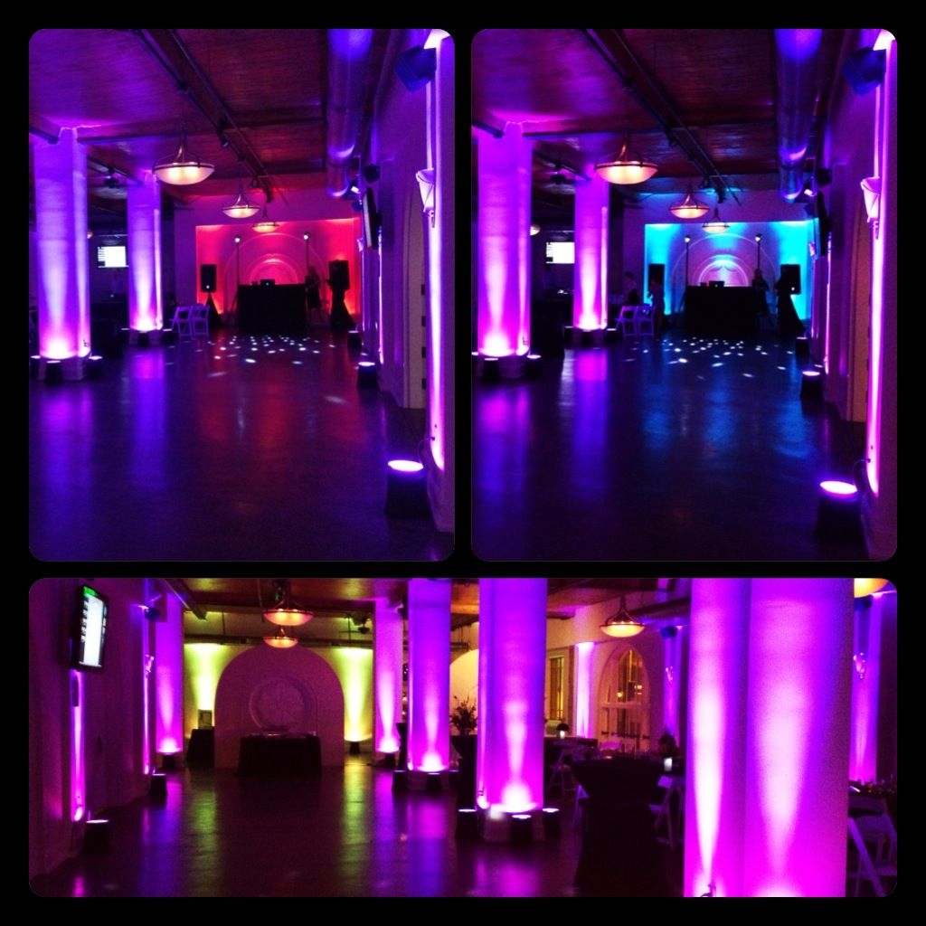 Light Purple Column Uplighting With Cyan Blue Lime Green Accent