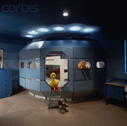 Child S Bedroom With Spaceship Bed Space Themed Bedroom Kids Room Design Room Themes