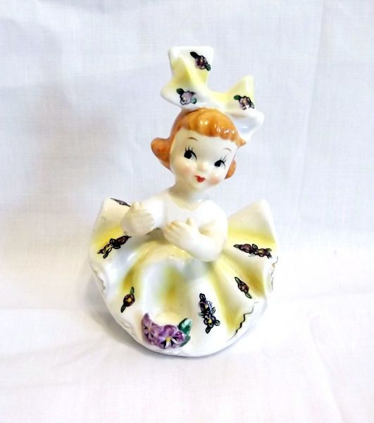 Holt Howard Candle Holder Girl Figurine Yellow White Dress w/ Purple Flowers