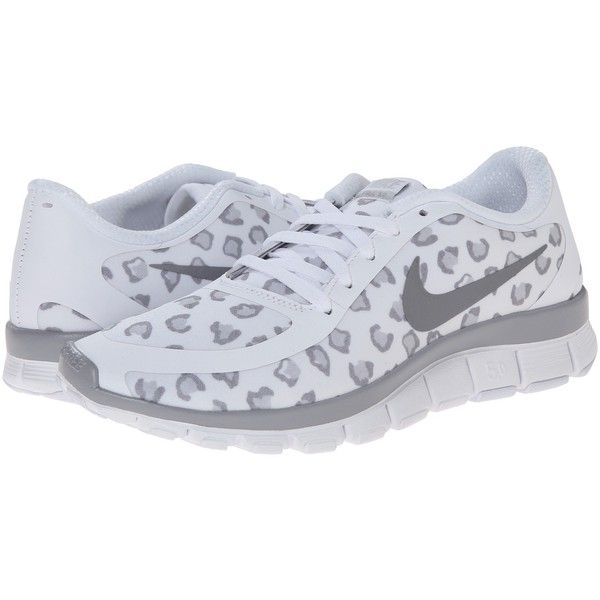 detailed look a9d8a b7c55 Nike Free 5.0 V4 (WhitePure PlatinumWolf Grey) Womens Shoes (45) ❤  liked on Polyvore featuring shoes, athletic shoes, white, training shoes,  white ...
