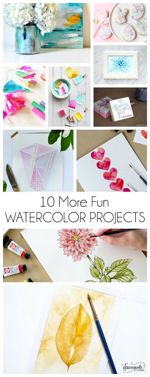 10 More Fun Diy Watercolor Projects Watercolor Projects Diy Art