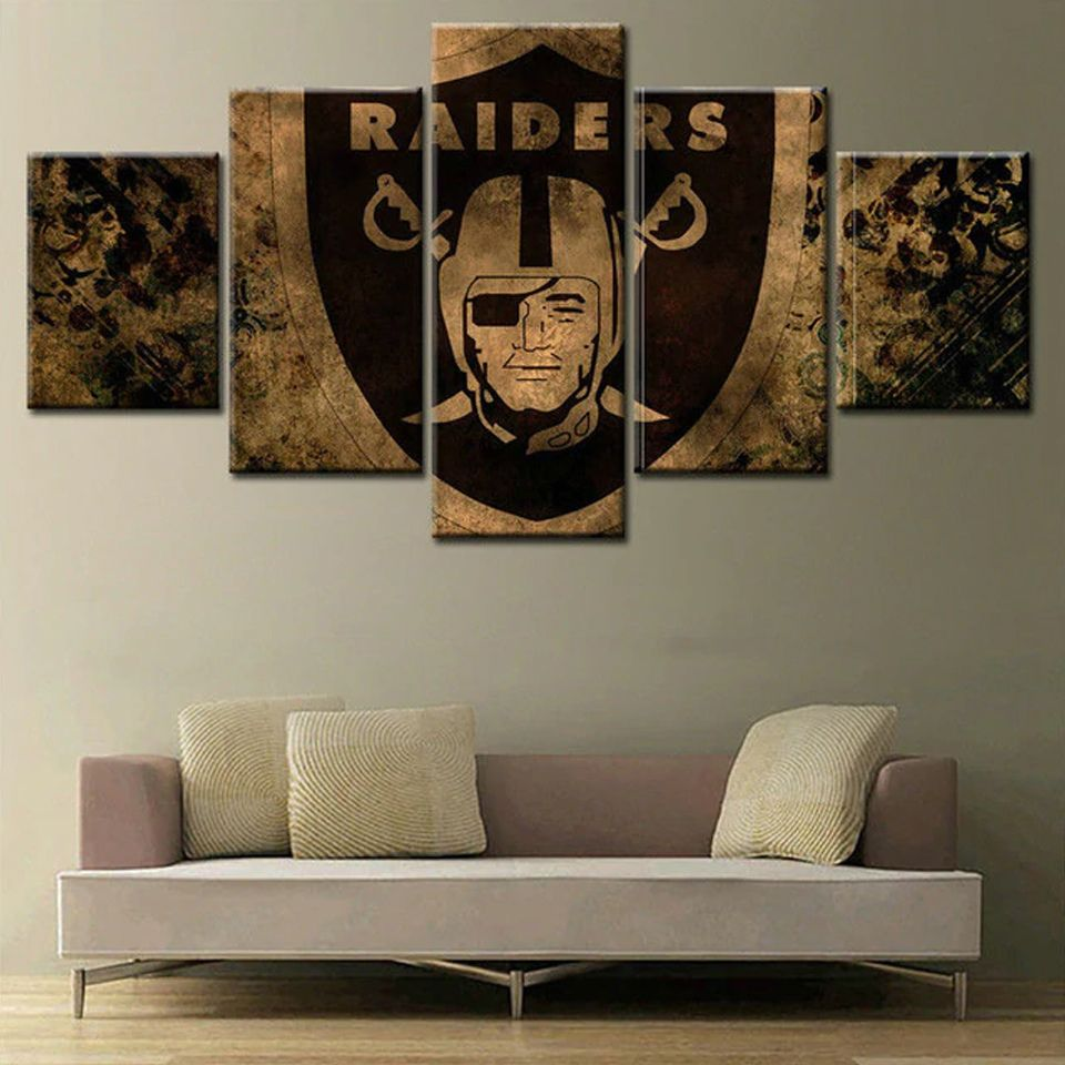 5 Pieces Canvas Painting Wall Art Oakland Raiders Sport For Living Room Decor M02 Customized Canvas Art Wall Art Canvas Painting Canvas Wall Decor