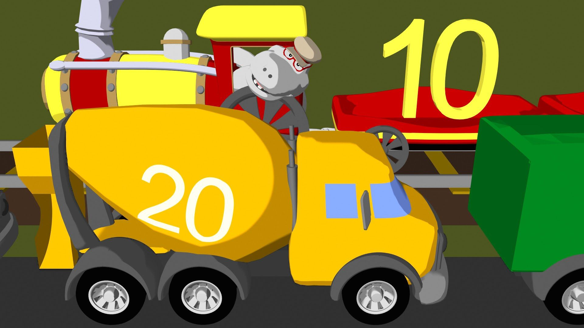 Counting by tens with trains & trucks - Learn numbers 10 to 100: http://youtu.be/oZO1wqU_W2k