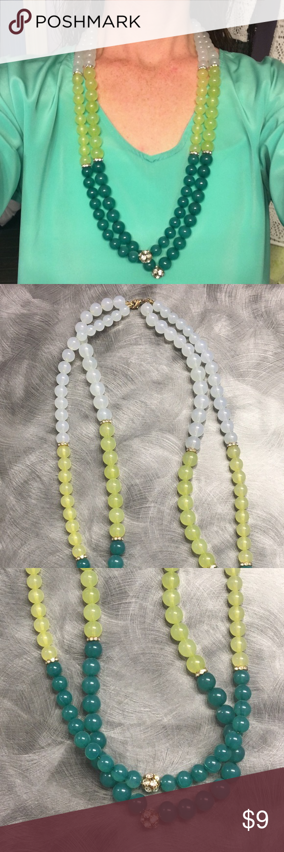 Multi-color bead necklace Green, yellow and opaque beads flatter a variety of tops. Embellished with rhinestone beads and clasp backing. Jewelry Necklaces