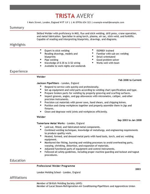 Welder CV Example for Construction LiveCareer Dolly Resume