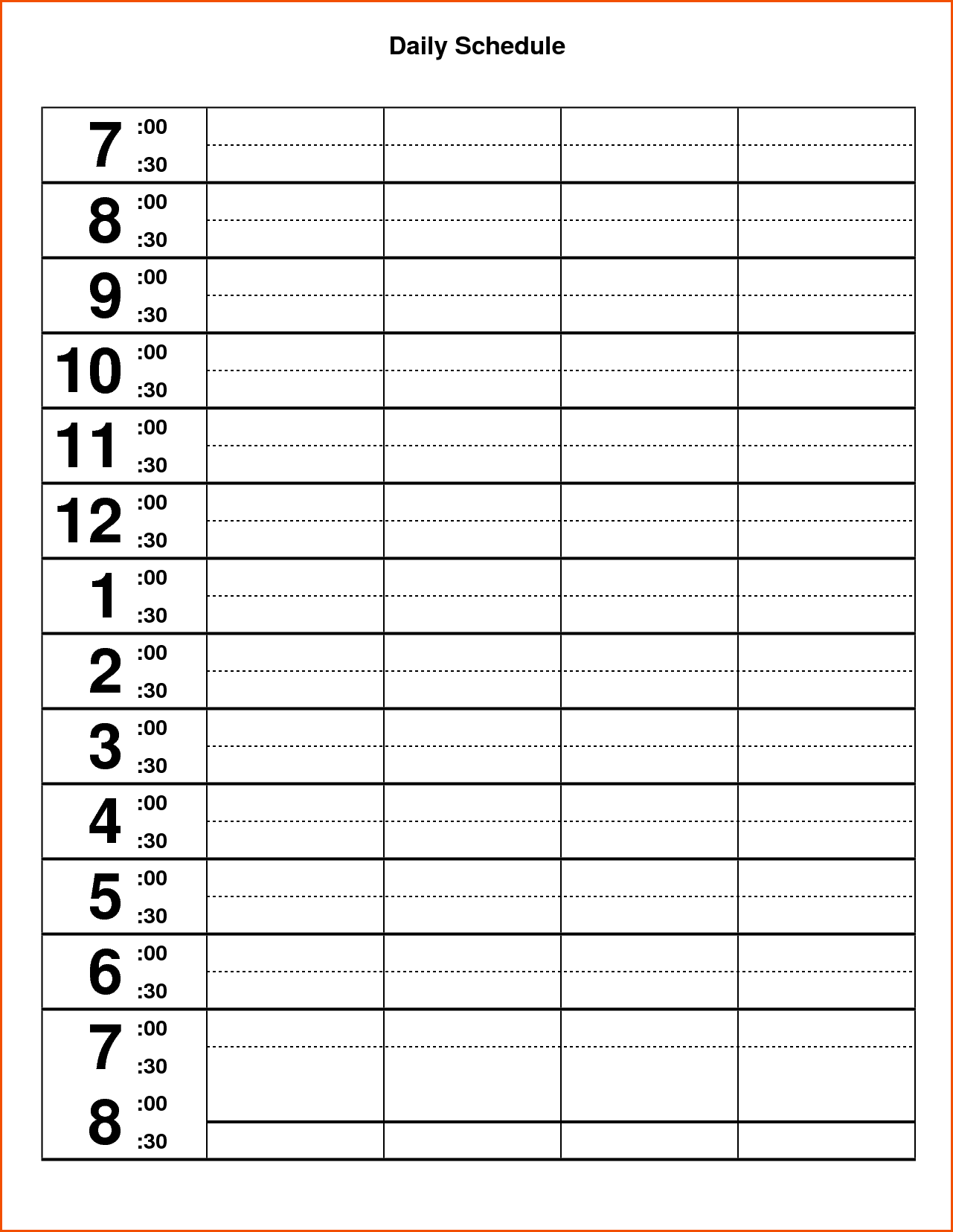 Download Daily Calendar Template Excel Format