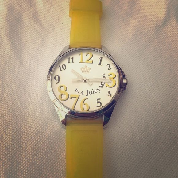 "Yellow Juicy Couture Watch Yellow ""In a juicy minute"" watch, great condition no scratches. Adjustable straps, super cute face great for any age! Juicy Couture Accessories Watches"