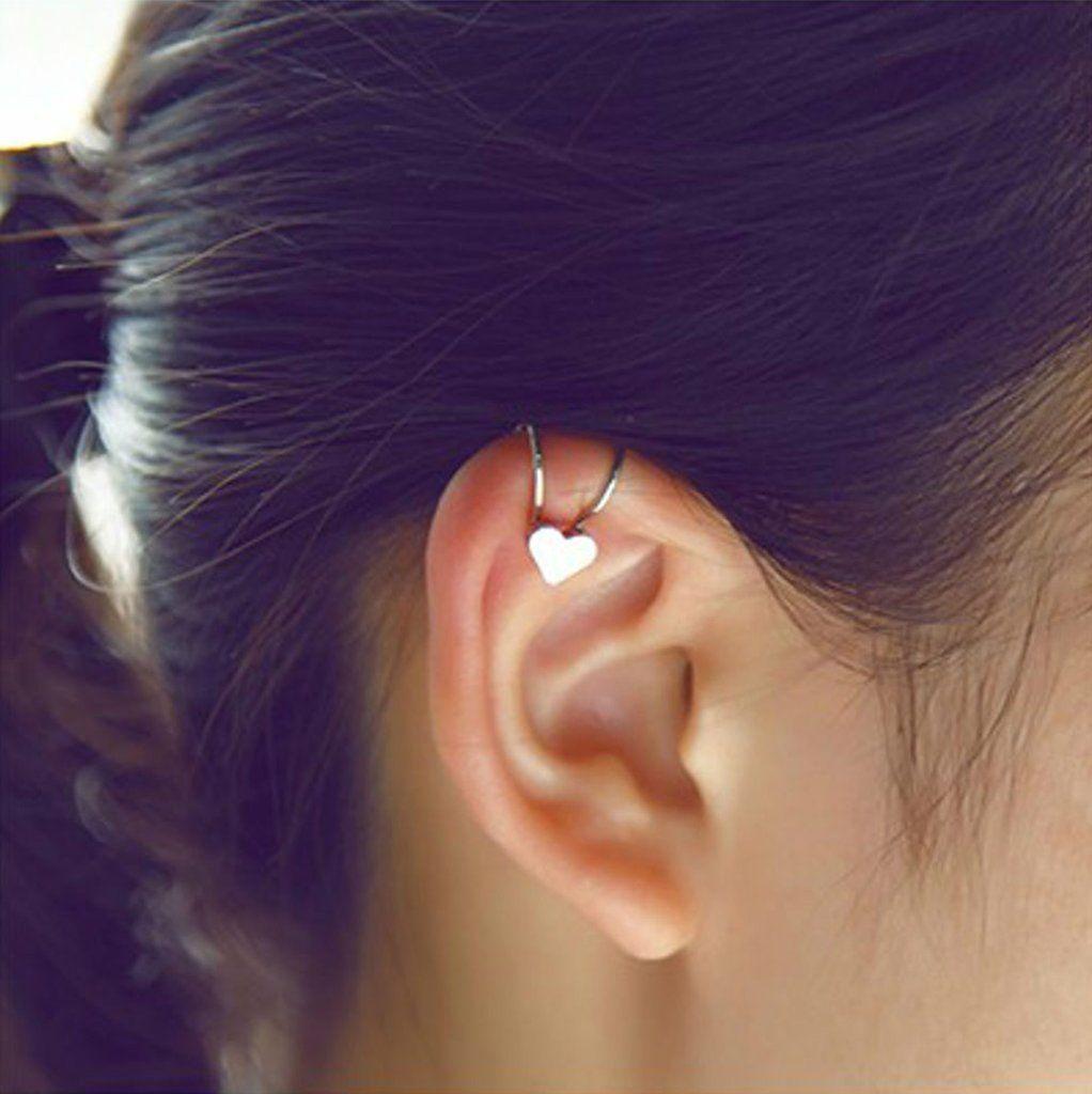 780f7dffe Cute Simple Heart Cartilage Ear Piercing Ideas - Ear Cuff Clip Earrings for Cartilage  Helix Ear Lobe in Star, Heart, Crystal, Cross Design in Gold or Silver ...