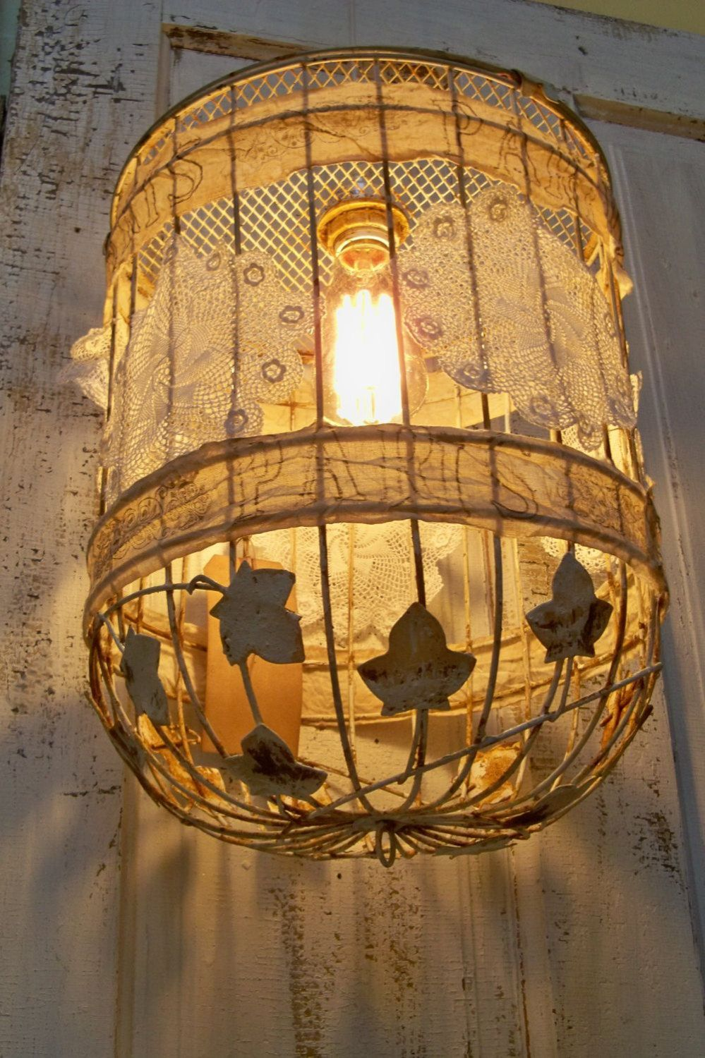 Rusty birdcage hanging lamp swag lace doilies distressed french tea distressed shabby recycled cage pendant lighting this birdcage makes a great recycled light fixture rusted and embellished with tea stained muslin and arubaitofo Images