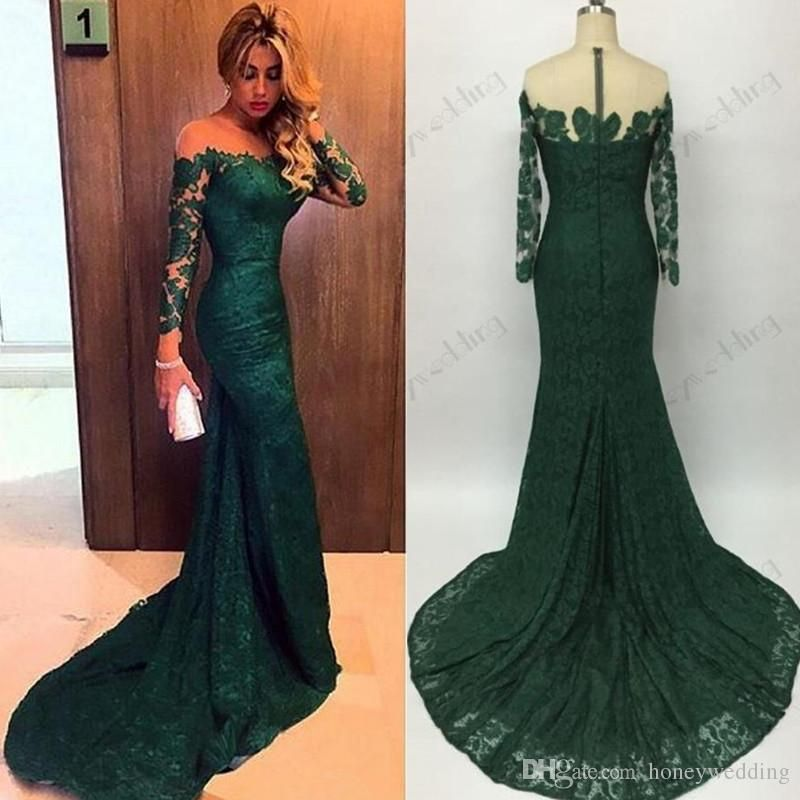 hot sale 2016 Emerald Green Mermaid Lace Evening Dresses Custom Made ...