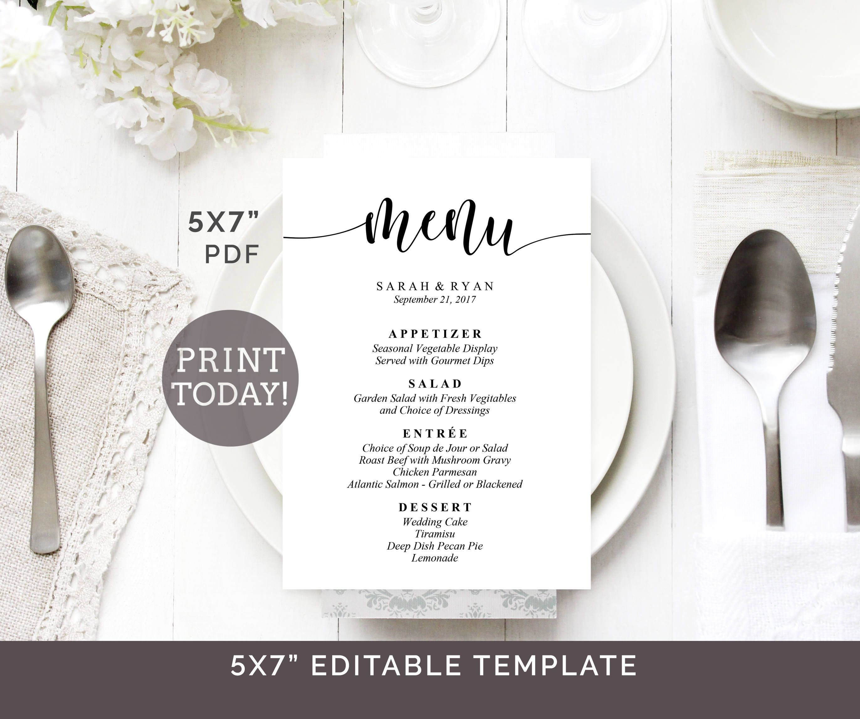 Wedding Menu Template X Menu Printable Editable Wedding Menu