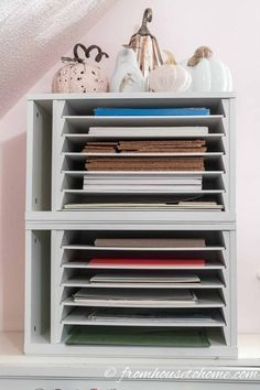 A paper organizer is a great way to store all kinds of craft supplies like Cricu...#craft #cricu #great #kinds #organizer #paper #store #supplies